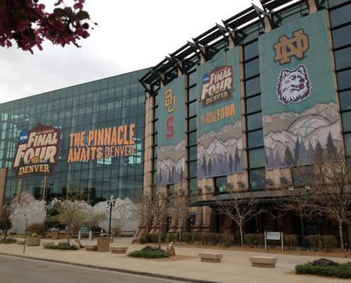 Building wraps for the NCAA Final Four
