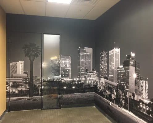dramatic black and white images make this wall mural work.