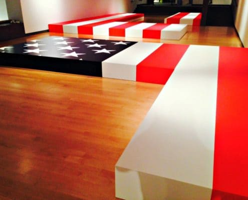 Patriotic museum flag exhibit.
