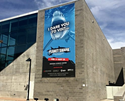 Building Banner promoting the Planet Sark Exhibit