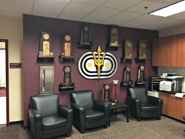 ASU Trophy room showing off Acrylic logo for Track team