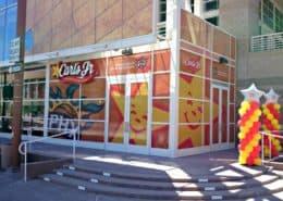 Fun colorful window graphics make people hungry.