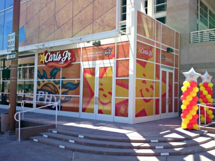 Fun colorful window graphics make people hungry.