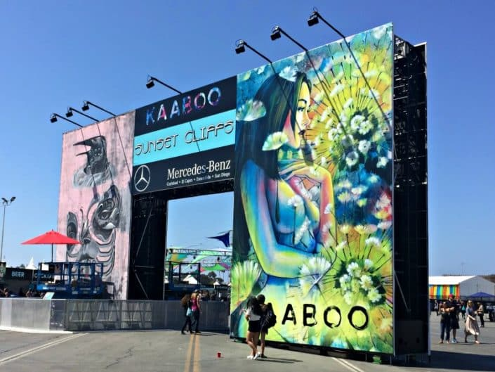 Cool event graphics at the Sunset Cliffs entry to Kaaboo.