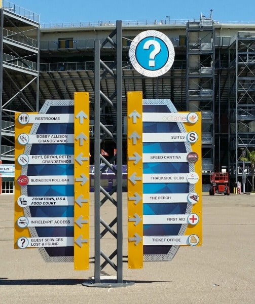 Wayfinding signs are essential to any large event so fans get where they want to