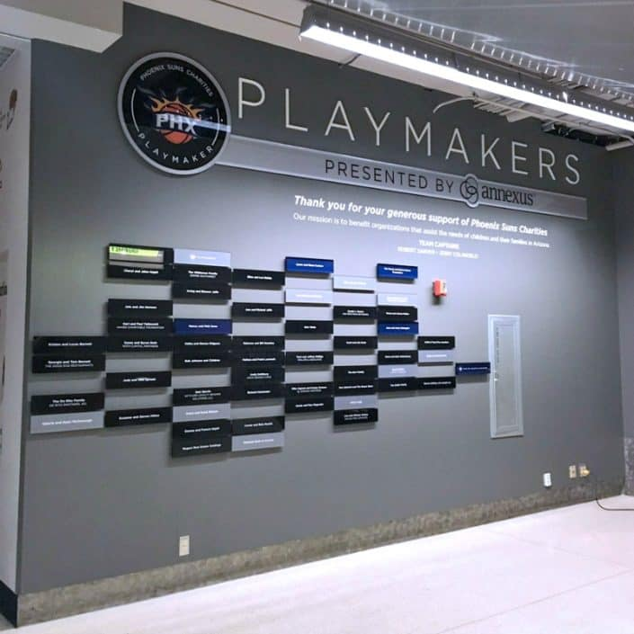Annexus acrylic signage for the Phoenix Sun Charities Playmakers