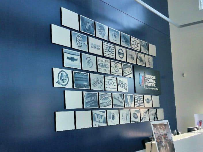 Acrylic collage sign for UTI enterance lobby