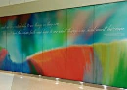Dramatic Lintec window graphics completely transforms this sterile environment.