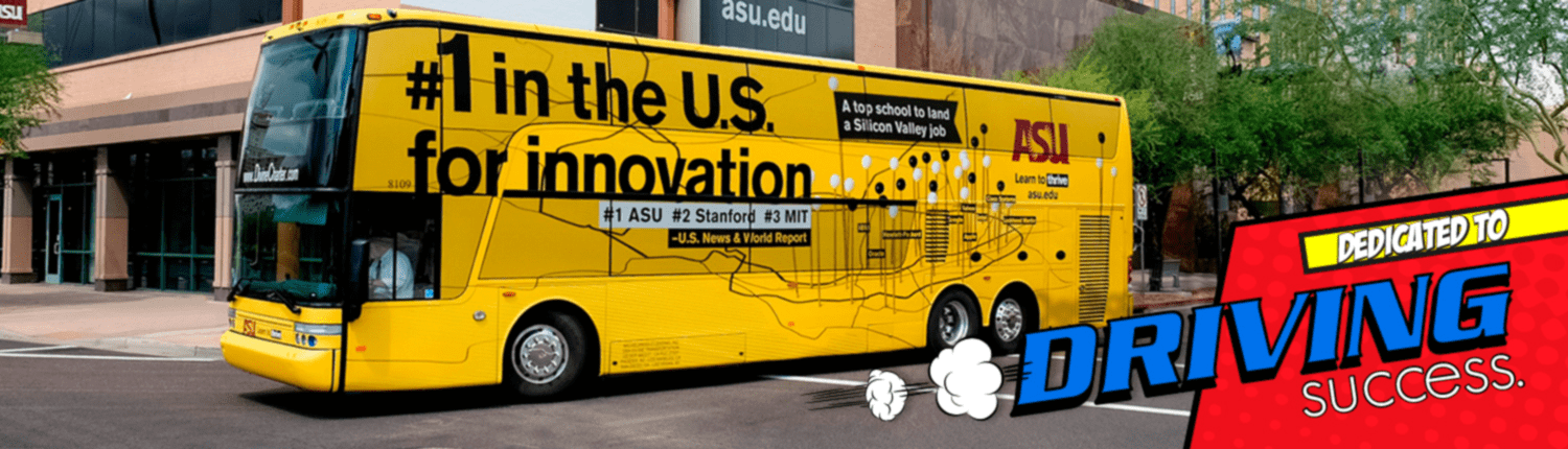 Arizona State University has awesome wrapped double decker buses for their students.