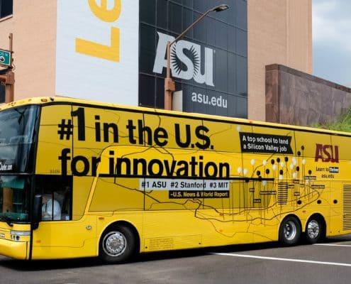 ASU promotes their branding with bold vehicle graphics.