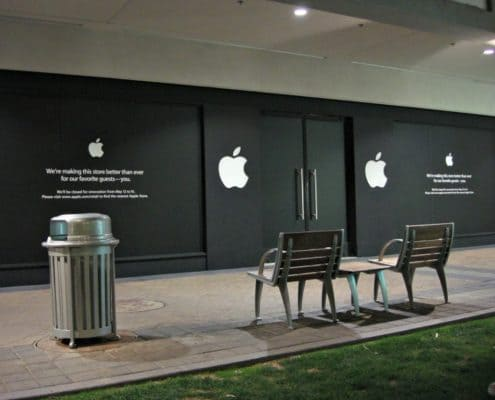Store front graphic at Apple store.