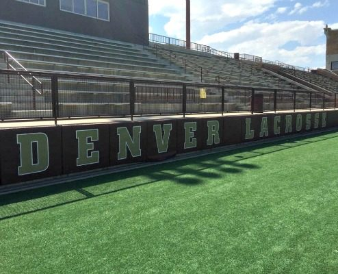 Lacrosse field fence mesh banner for the University of Denver Lacrosse.