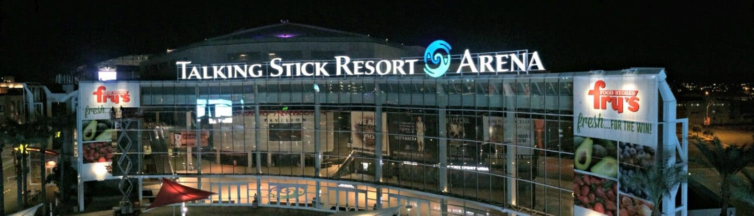 Amazing night image of Talking Stick Resort Arena and amazing venue signage.