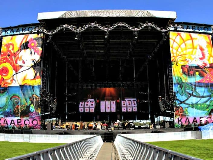 Walking up t the massive stage graphics at kaaboo