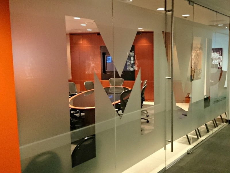 Window Graphics Large To Small Exterior To Interior - Frosted glass conference room table