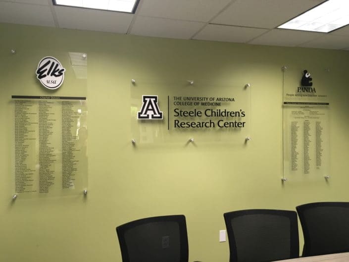 Acrylic sign supporting PANDA and Steele Children's Research Center