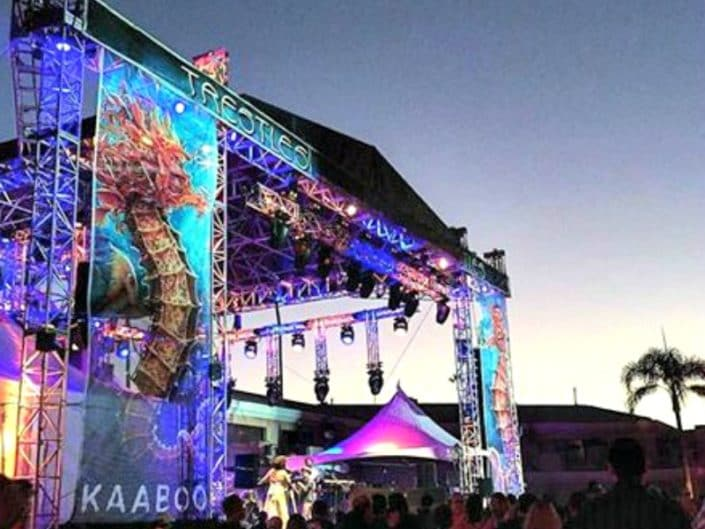The Kaaboo stage graphics look cool at sunset.