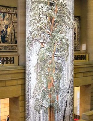 60' of seamless fabric tapestry hangs in the Philadelphia Museum of Art.