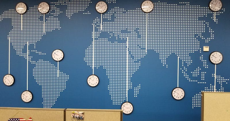American Airlines creates wall that talks with clocks in each time zone.