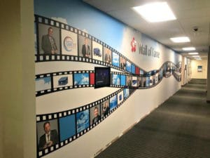 Republic Services uses a wall mural to highlight great employees