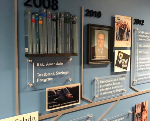 The timeline wall mural uses a variety of large format printing options